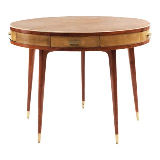 Italian Mid-Century Teak Parchment Game Table For Sale