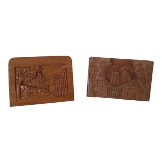 Hand Carved Wood Carvings - A Pair For Sale