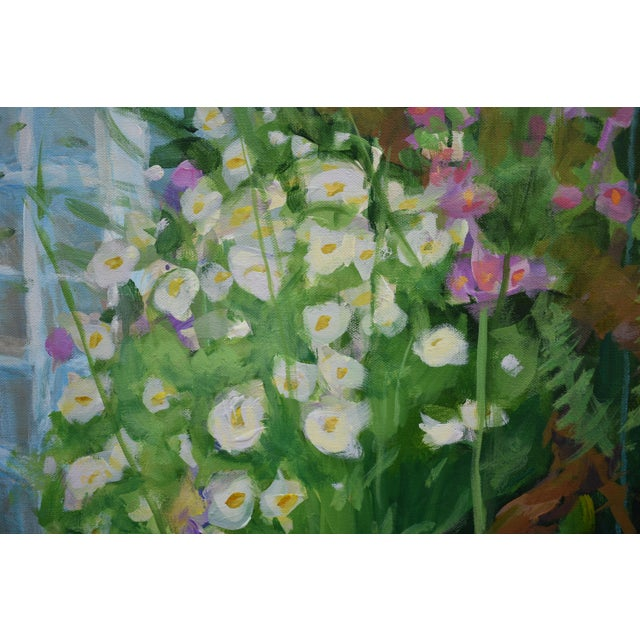 """White """"Meet Me at the Greenhouse"""". Large (48"""" X 48"""") Contemporary Painting by Stephen Remick For Sale - Image 8 of 13"""