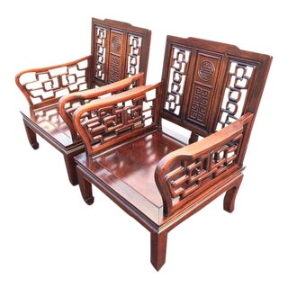 Antique Carved Chinese Chippendale Rosewood Chairs - a Pair