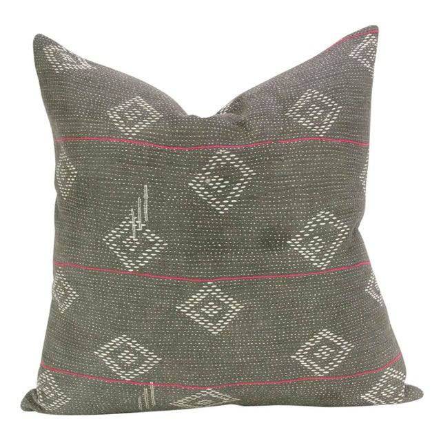 Boho Chic Dark Gray Bengal Kantha Pillows - A Pair For Sale - Image 3 of 5