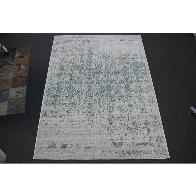 """Teal Distressed Patterned Rug - 8'x10'7"""" - Image 7 of 7"""