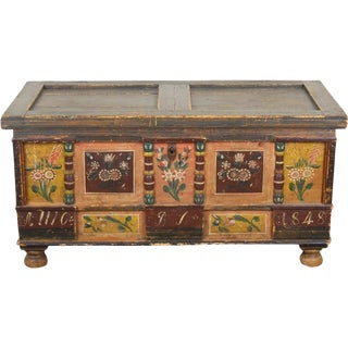 Antique German Painted Dower or Blanket Chest For Sale