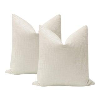 "22"" Crocodile Chenille Pillows - a Pair For Sale"