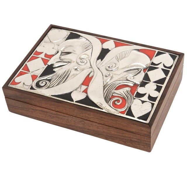 Italian Ottaviani Sterling Silver, Enamel and Wood Card Playing Box - Image 2 of 10