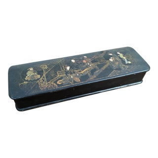 Antique 19th Century Japanese Black Lacquer Hand Painted Brush Box