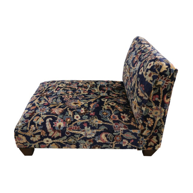 Low Profile Slipper Chair or Persian Rug Petbed from Antique Persian Khorassan Rug. This hand-knotted wool Late 19th...