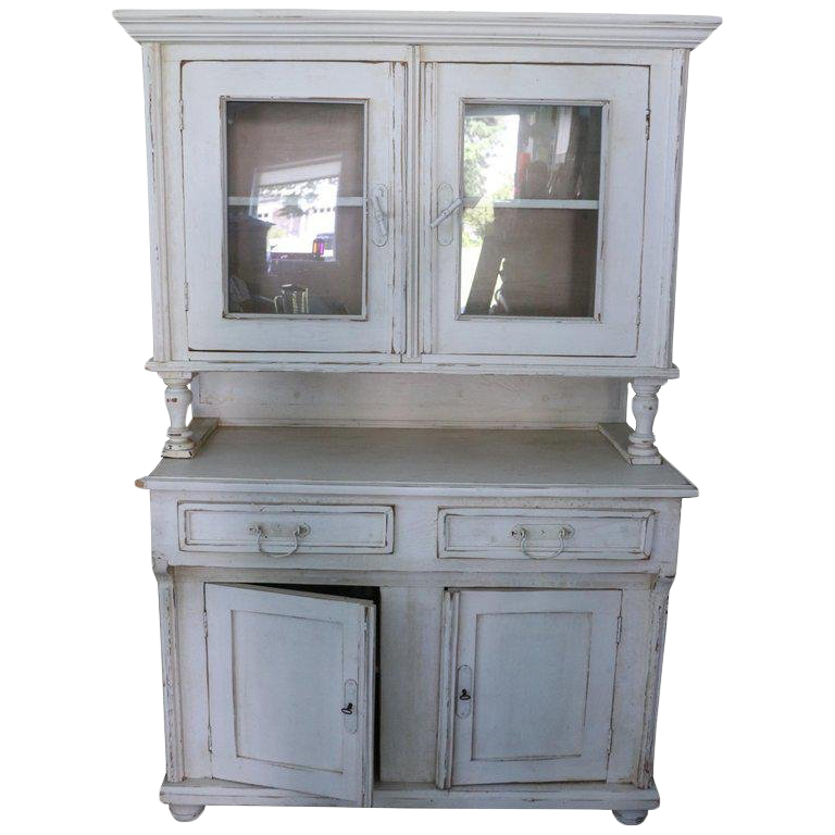 1920u0027s French Regency Pale Rose Yellow Antique Glass Breakfront/Cabinet