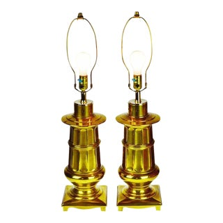 Vintage Neoclassical Brass Table Lamps - a Pair For Sale