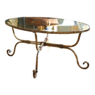 Vintage Oval Gilt Bronze and Glass Cocktail Table For Sale