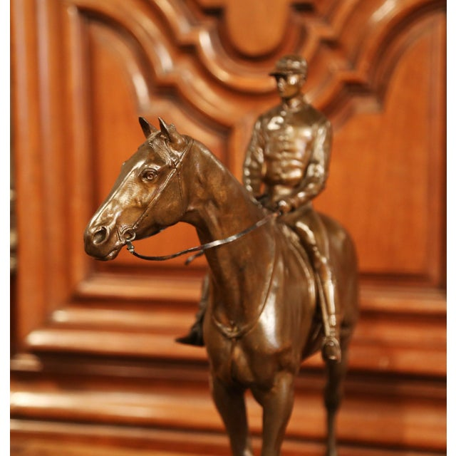 Bronze 19th Century French Bronze Racehorse and Jockey Sculpture Signed Paul Comolera For Sale - Image 8 of 13
