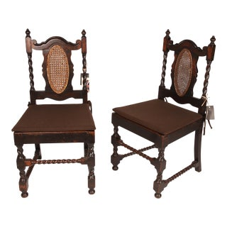 British Colonial Side Chairs With Barley Twist Spindles For Sale