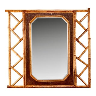 Bamboo and Leather Framed Wall Mirror