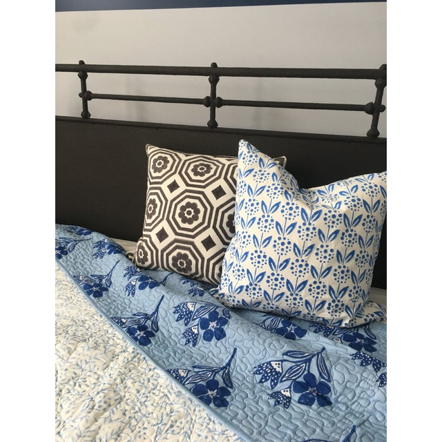 Boho Chic Floral Blue Reversible Queen-Size Quilt For Sale - Image 4 of 5