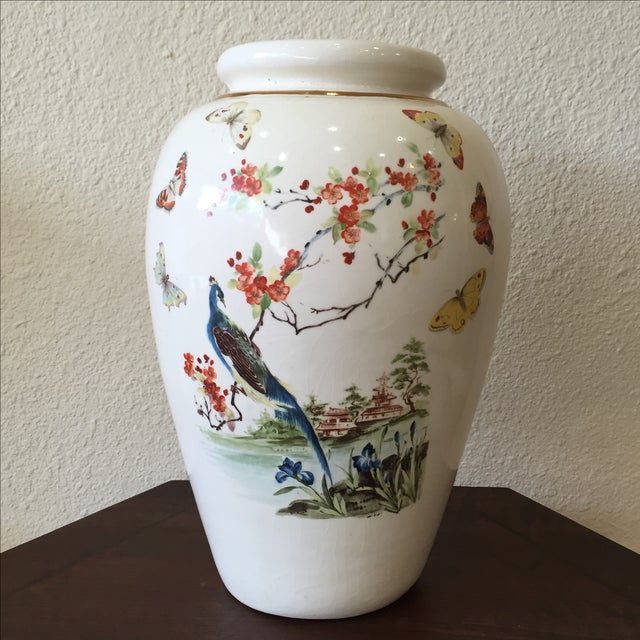 Large Vintage Vase With Peacock - Image 2 of 7