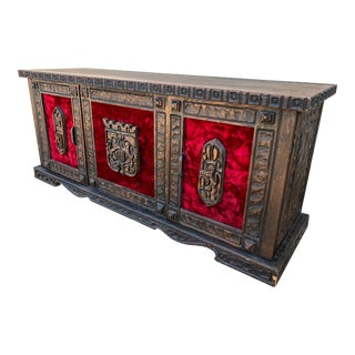 Witco Medieval Carved Oak With Crushed Red Velvet Panels Credenza