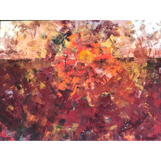 Abstract Expressionism 1960s Abstract Sun Oil Painting For Sale - Image 3 of 9