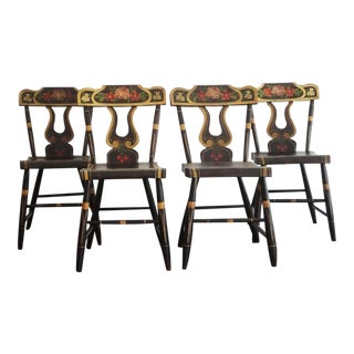 Fantastic 19thc Original Paint Decorated Chairs From Pennsylvania For Sale