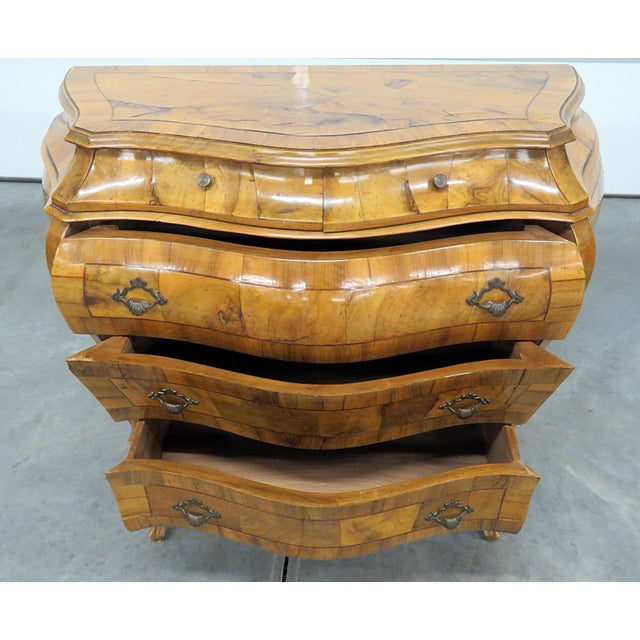 Wood Italian Louis XV Style Bombe Commode For Sale - Image 7 of 13