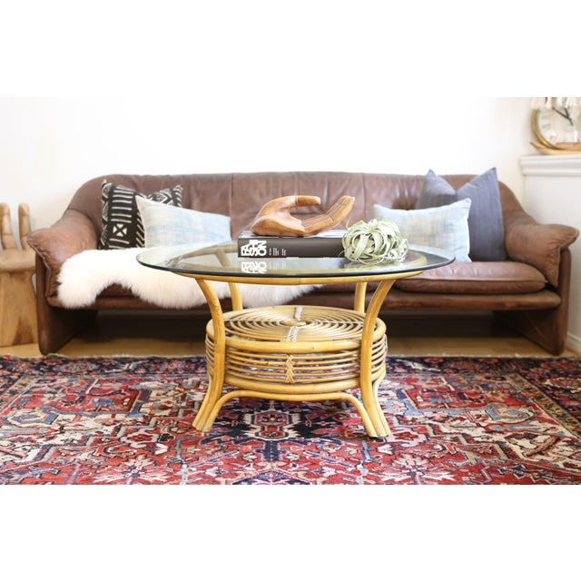 Round Rattan Coffee Table Glass Top: Round Rattan & Bamboo Pencil Reed Glass Top Coffee Table