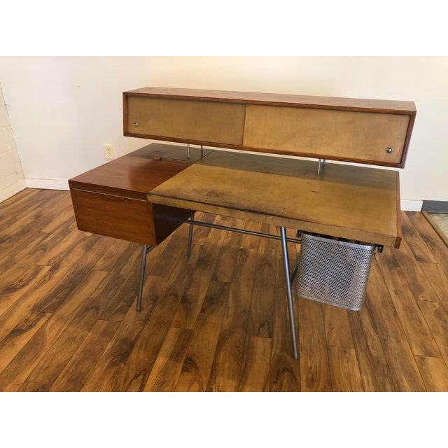 Metal George Nelson for Herman Miller Walnut, Steel and Leather Mid Century Desk For Sale - Image 7 of 12