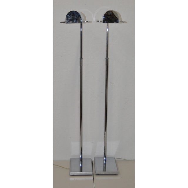 Koch & Lowy Koch & Lowy Chrome Floor Lamps C.1970 - A Pair For Sale - Image 4 of 6