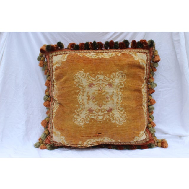 Very old possibly late 19th c or early 20th c Italian extra large cotton down pillow. Burnt orange front and light red...