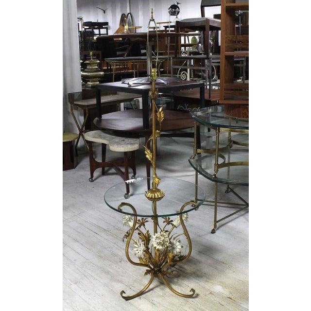 Italian Decorative Gilt Metal Floor Side Table Lamp For Sale - Image 3 of 9