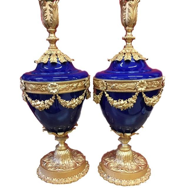 Italian Italian Cobalt Ceramic & Bronze Dore Table Lamps- A Pair For Sale - Image 3 of 11