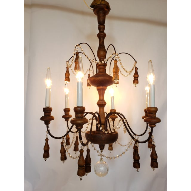 Antique French Wood & Crystal Chandelier For Sale - Image 12 of 13