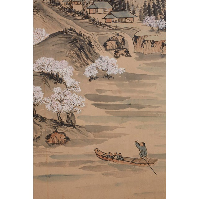Brass Japanese Six Panel Meiji Landscape Screen For Sale - Image 7 of 13