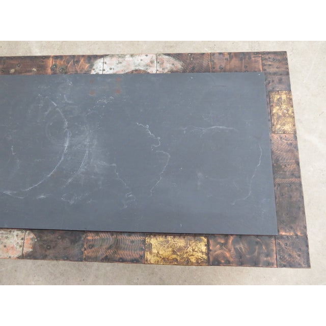Mid 20th Century Paul Evans Mixed Metal Patchwork Slate Top Coffee Table For Sale - Image 10 of 13