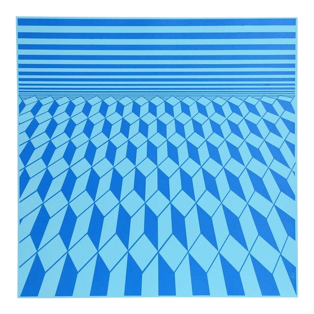 """Environment (Blue)"" Op Art Serigraph by Roy Ahlgren For Sale"