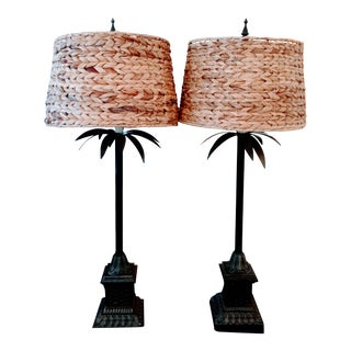 Extra Tall Metal Palm Tree Regency Palm Tree Buffet Table Lamps W' Seagrass Shades For Sale