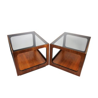 Lane Walnut & Smoked Glass Side Tables - a Pair