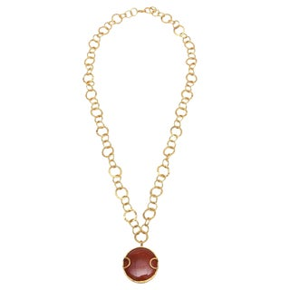 Sharron Yarro Hand Hammered Gold Loop and Carnelian Necklace For Sale