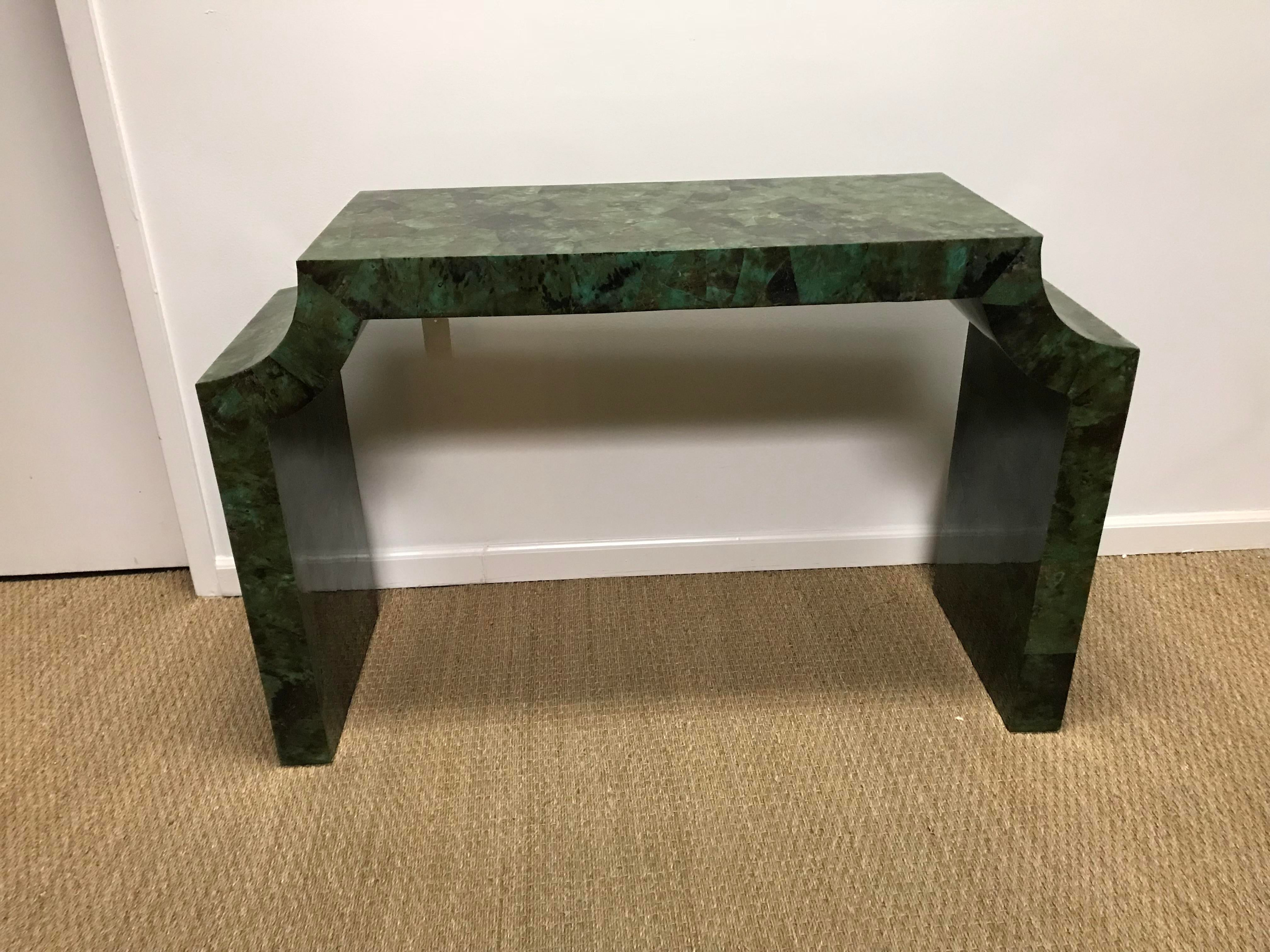 This Green Shell Console Table Has Great Lines And Adds A Great Pop Of  Color To