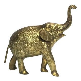 Brass Trunk-Up Elephant Figurine For Sale