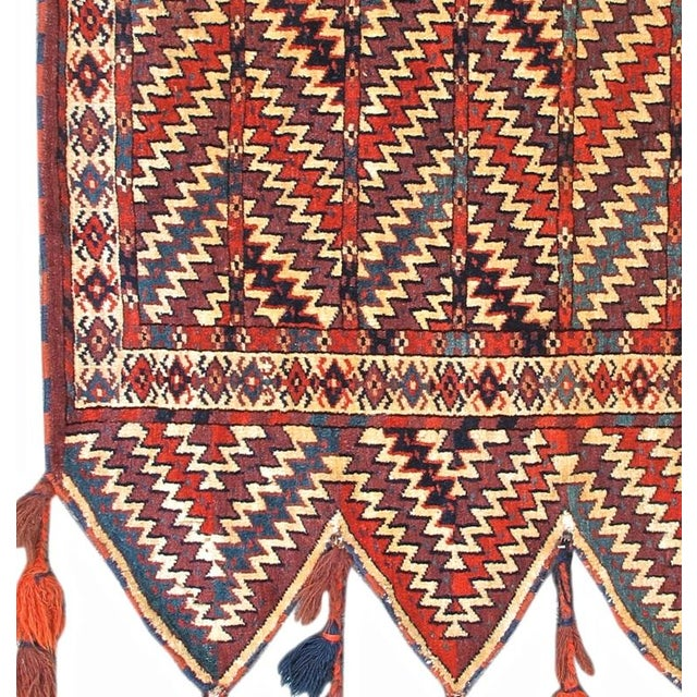 An Okbash is a unique type of Turkmen bag designed to contain the tent-poles of a yurt during migration. This mid-19th...