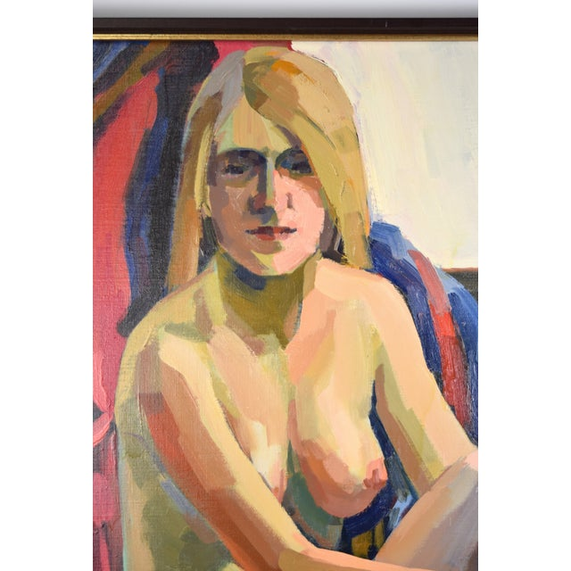 """1970s """"Nude Blonde Woman"""" Oil Painting by Lars Birger Sponberg For Sale - Image 4 of 8"""
