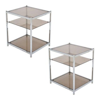 Pair of French Vintage Chrome Side Tables For Sale