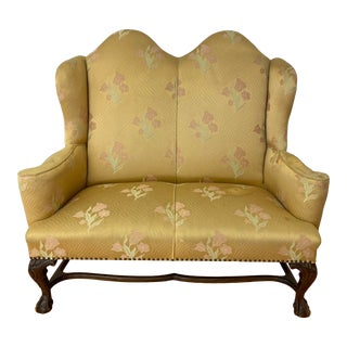 Vintage Chippendale Style Two Seat High Back Bench C.1940 For Sale