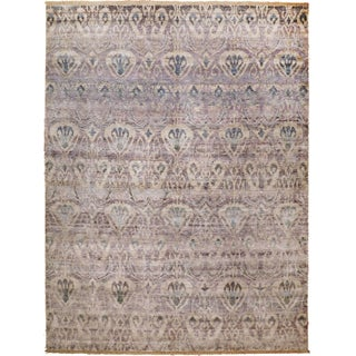 Transitional Ikat Hand-Knotted Luxury Rug - 9' x 12' For Sale