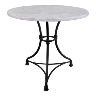 Crate & Barrel French Marble Top Wrought Iron Bistro Table For Sale
