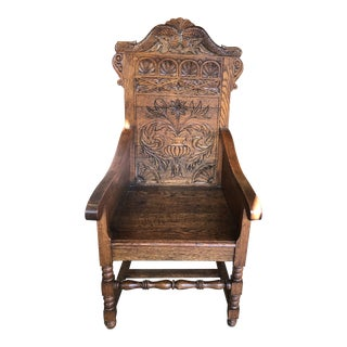 1910s Vintage Hand-Carved Arm Chair For Sale