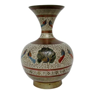 Enameled Brass Vase For Sale
