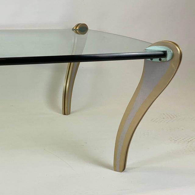 Postmodern Metal & Glass Studio Made Coffee Table by Peter Handler For Sale - Image 10 of 13
