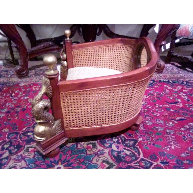 Mid-Century Modern 1960s Traditional Caning Wicker Dog Bed With Cushion For Sale - Image 3 of 8