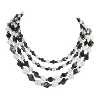 Black & Opaline Glass Multi Strand Statement Necklace For Sale