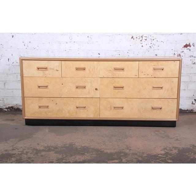 Milo Baughman Style Burl Wood Dresser or Credenza by Henredon For Sale - Image 13 of 13